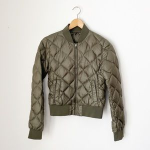 TNA Olive Green Quilted Down Filled League Jacket